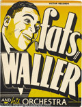 Music Memorabilia:Posters, Fats Waller Signed Window Card....