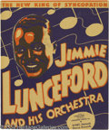 Music Memorabilia:Posters, Jimmie Lunceford Signed Window Card....