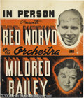 Music Memorabilia:Posters, Red Norvo and Mildred Bailey Signed Window Card....