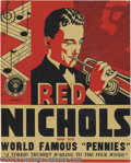 Music Memorabilia:Posters, Red Nichols Signed Window Card....