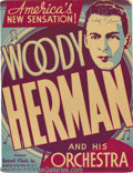 Music Memorabilia:Posters, Woody Herman Two Window Cards (One Signed)....
