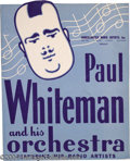 Music Memorabilia:Posters, Paul Whiteman Unsigned Window Card....