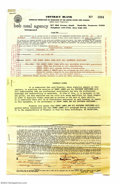Music Memorabilia:Ephemera, Sonny James Contract with Rider Attached (& Carbon of Paycheck)....