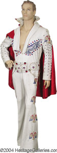Music Memorabilia:Costumes, Elvis Presley White Jumpsuit, Belt, Scarf, and Cape....