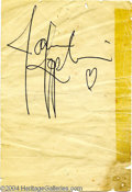 Music Memorabilia:Autographs and Signed Items, Janis Joplin - Signed Album Page (No Date)....