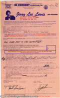 Music Memorabilia:Autographs and Signed Items, Jerry Lee Lewis Signed Performance Contract....
