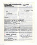 Music Memorabilia:Autographs and Signed Items, Moon Zappa - Signed Contract (1982)....