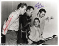 Music Memorabilia:Autographs and Signed Items, Million Dollar Quartet: Jerry Lee Lewis, Carl Perkins, and JohnnyCash Signed Photo Taken at Sun Records....