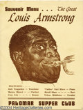Music Memorabilia:Autographs and Signed Items, Louis Armstrong Autographed Menu....