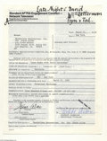 Music Memorabilia:Autographs and Signed Items, Steve Allen - Signed Contract (1982)....
