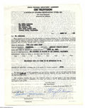 Music Memorabilia:Autographs and Signed Items, Eddie Anderson - Signed Agreement (1953)....