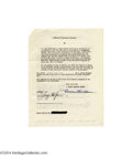Music Memorabilia:Autographs and Signed Items, Gary Cooper - Signed Document (1947)...