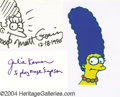 Music Memorabilia:Autographs and Signed Items, Matt Groening and Julie Kavner (aka Marge Simpson) ...