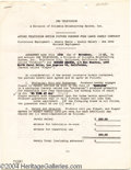 Music Memorabilia:Autographs and Signed Items, Buster Keaton Signed Contract....