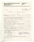 Music Memorabilia:Autographs and Signed Items, John Lithgow - Signed Contract (1985)....