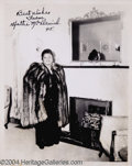 "Music Memorabilia:Autographs and Signed Items, Hattie McDaniel Signed 8"" x 10""...."