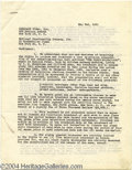 Music Memorabilia:Autographs and Signed Items, P.G. Wodehouse - Signed Document (1951)....