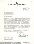 Music Memorabilia:Autographs and Signed Items, Gene Roddenberry - Signed Agreement (1961)....