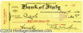 Music Memorabilia:Autographs and Signed Items, Ben Turpin - Signed Check (1922)....