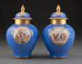 A Pair of Meissen Polychromed and Partial Gilt Porcelain Covered Urns, Germany, late 18th-early 19th century Marks: (cro...