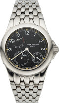Timepieces:Wristwatch, Patek Philippe, Very Fine Ref. 5085/1A, Moonphase Power Reserve, Stainless Steel, Circa 2000. ...