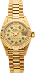 Timepieces:Wristwatch, Rolex, Lady's Oyster Perpetual DateJust, 18k Gold, Presidential Bracelet, Ref. 69000A, Circa 1993. ...