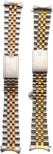 Timepieces:Other , Rolex, Two Gent's Steel & Gold Bracelets. ... (Total: 2 Items)