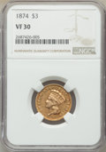 Three Dollar Gold Pieces: , 1874 $3 VF30 NGC. NGC Census: (18/2976). PCGS Population: (15/2604). CDN: $730 Whsle. Bid for NGC/PCGS VF30. Mintage 41,800...