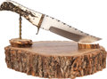 Edged Weapons:Knives, Custom Fixed Blade Knife by Gene Baskett with Stand.. ... (Total: 2 Items)