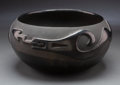 American Indian Art:Pottery, A San Ildefonso Carved Blackware Pottery Jar...