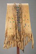 American Indian Art:Beadwork and Quillwork, An Apache Painted Hide Double Saddle Bag...