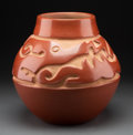 American Indian Art:Pottery, A Santa Clara Carved Redware Jar ...