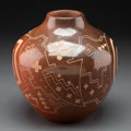 American Indian Art:Pottery, A Santa Clara Etched Red/Brownware Jar ...