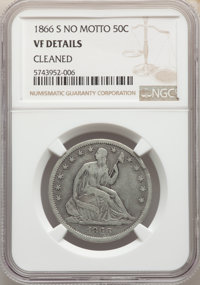 1866-S 50C No Motto -- Cleaned -- NGC Details. VF. Mintage 60,000....(PCGS# 6315)