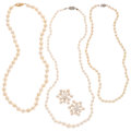 Estate Jewelry:Lots, Cultured Pearl, Gold Jewelry Lot . ... (Total: 4 Items)