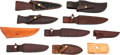 Edged Weapons:Knives, Lot of Ten (10) Custom Leather Knife Scabbards.. ...