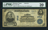 Houston, TX - $5 1902 Plain Back Fr. 601 The Union National Bank Ch. # 9712 PMG Very Fine 20