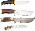 """Edged Weapons:Knives, Lot of Four (4) Interesting Fixed Blade Knives by Various Custom Knifemakers, including D'Alton Holder and Larry """"The Hammer"""" ... (Total: 4 Items)"""