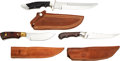 Edged Weapons:Knives, Lot of Three (3) Larry Harley Custom Knives with Sheaths. . ... (Total: 3 Items)