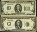 Small Size:Federal Reserve Notes, Fr. 2151-G; L $100 1928A Federal Reserve Notes. Fine-Very Fine or Better.. ... (Total: 2 notes)