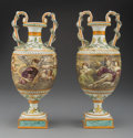 Ceramics & Porcelain, A Pair of Wedgwood Queensware Urns, 19th century. Marks to one: E Lessore. 15 inches (38.1 cm) (each). PROPERTY FROM T... (Total: 2 Items)