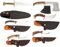 Edged Weapons:Knives, Lot of Six (6) John Gwaltney Custom Knives with Sheaths.. ... (Total: 6 Items)