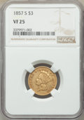 Three Dollar Gold Pieces: , 1857-S $3 VF25 NGC. NGC Census: (8/177). PCGS Population: (10/163). CDN: $950 Whsle. Bid for NGC/PCGS VF25. Mintage 14,000....
