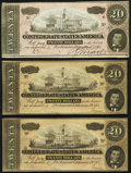 Confederate Notes:1864 Issues, T67 $20 1864 Three Examples About Uncirculated or Better.. ... (Total: 3 notes)