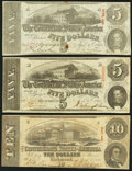 Confederate Notes:1863 Issues, T59 $10 1863 Very Fine;. T60 $5 1863 Two Examples Very Fine or Better.. ... (Total: 3 notes)