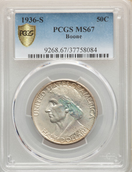 1936-S 50C Boone, MS PCGS Secure 67 PCGS