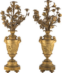 A Pair of French Louis XVI-Style Gilt Bronze Candelabra, late 19th century 34 x 16 x 16 inches (86.4 x 40.6 x 40.6