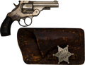 Handguns:Double Action Revolver, Historic Harrington & Richardson Top Break Double Action Revolver with Lawman's Hip Pocket Holster and Badge. . ...