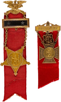 Ornate G.A.R. and Women's Relief Corps [W.R.C.] Presentation Badges