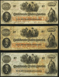 Confederate Notes:1862 Issues, T41 $100 1862 Three Examples Fine-Very Fine or Better.. ... (Total: 3 notes)
